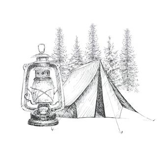 Clipart graficzny o tematyce kempingowej na białym tle. namiot kempingowy, zabytkowa latarnia i ilustracje krajobrazu lasu. zestaw koncepcji podróży.