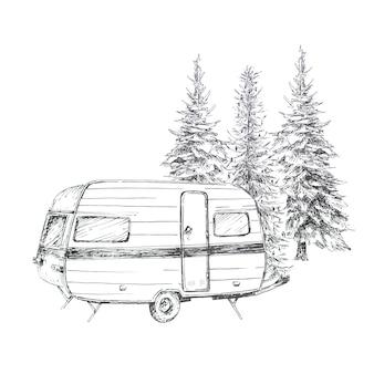Clipart graficzny o tematyce kempingowej na białym tle. vintage furgonetki kempingowe i leśne alustracje krajobrazowe. koncepcja podróży.