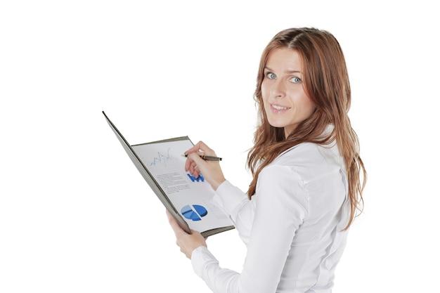 Close up.business kobieta sprawdza wykresy finansowe.