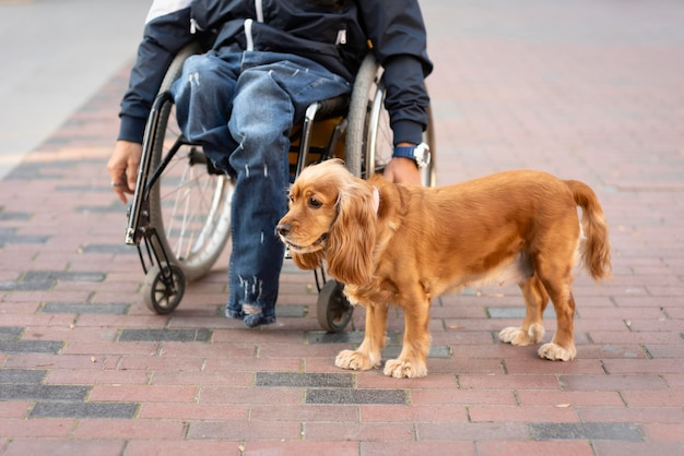 Close-up człowiek na wózku inwalidzkim z psem