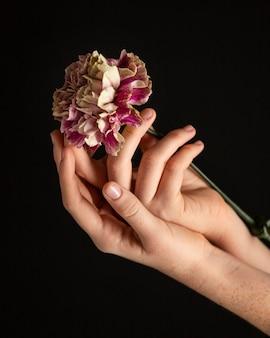 Close-up kobieta trzyma kwiat