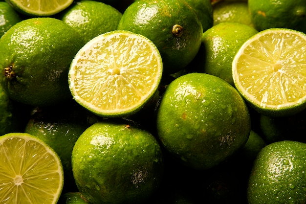 Close up lime in a wood basket.