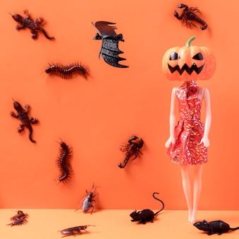 Close-up upiorne zabawki halloweenowe z nietoperzami
