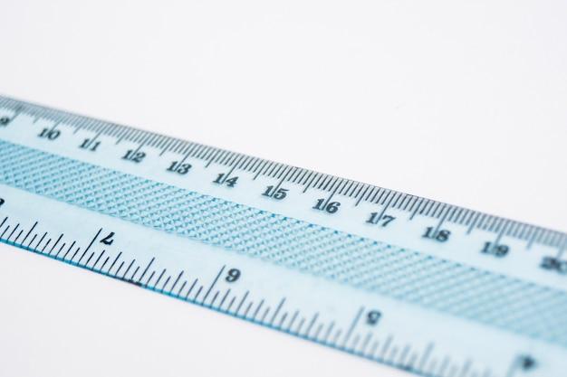 Close-up z tworzywa sztucznego linijka