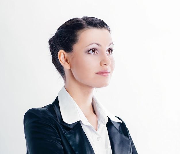 Closeup.portrait ufny biznes woman.isolated na białym tle
