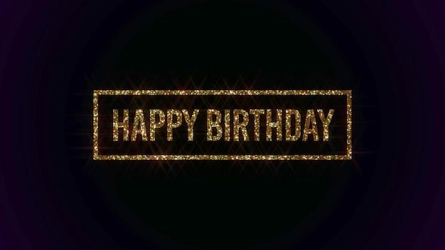Closeupgold happy birthday tekst na tło wakacje. luksusowy i elegancki szablon w stylu dynamicznym na kartkę świąteczną, ilustracja 3d