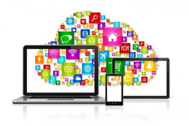 Cloud computing ikony na komputerze