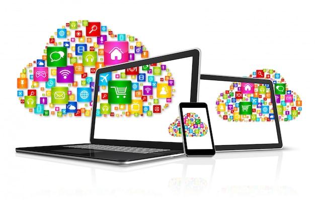 Cloud computing symbol i zestaw komputerowy