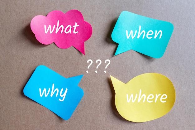 Co, kiedy, dlaczego, gdzie pytania w dymkach?