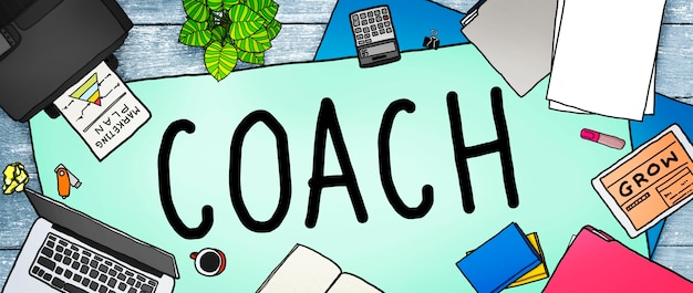 Coach coaching guide instructor leader manager tutor concept