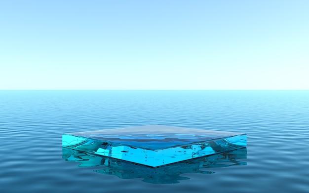 Cokół wodny do ekspozycji produktów, płynna podłoga z odbiciem w wodzie. renderowanie 3d