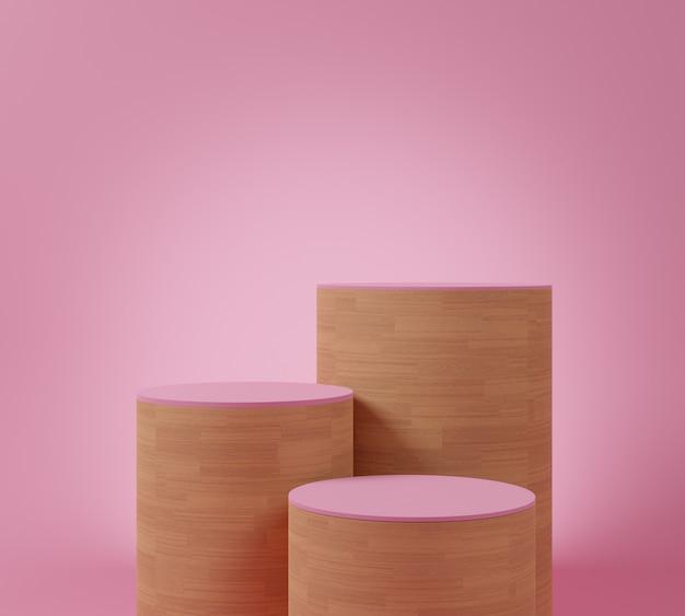 Cokół z drewna różowego o minimalnym kształcie