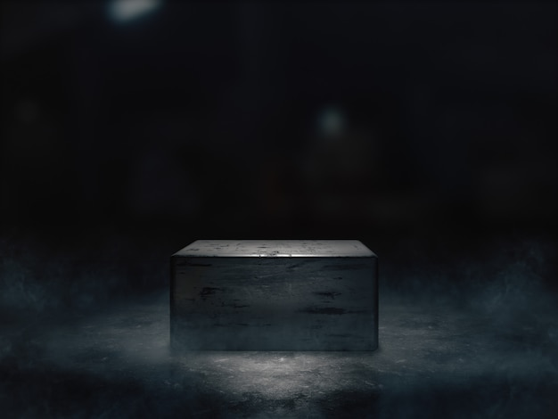 Cokół z pokazem produktów w ciemnym pomieszczeniu.