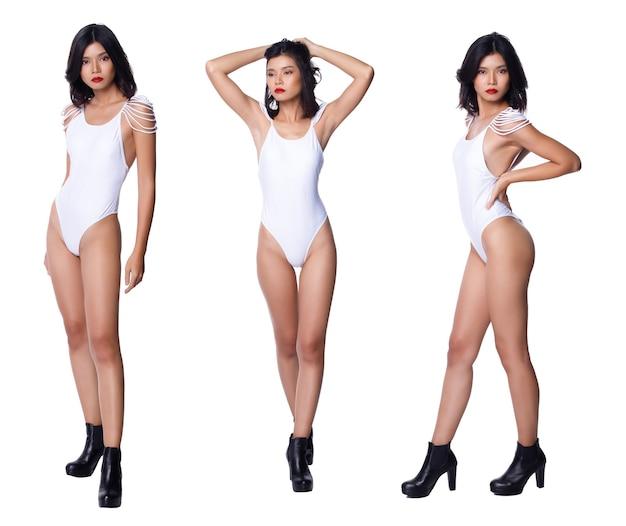 Collage group full length rysunek przystawki lat 20. asian woman krótkie czarne włosy białe stroje kąpielowe wysokie nogi i buty. sexy kobieta stoi i moda pozuje na białym tle na białym tle