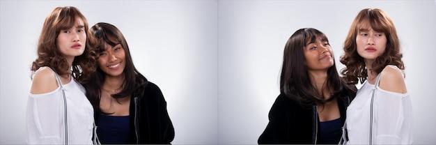 Collage group pack of two fashion młode, chude siostry najlepsze przyjaciółki azjatka, czarne włosy, noszą futrzaną kurtkę i zawieszenie klipsa. oświetlenie studyjne białe szare tło na białym tle copyspace