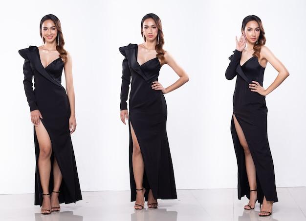 Collage group pack portret młodej szczupłej azjatyckiej kobiety nosi cekinową suknię balową wieczorową długą suknię, piękna dziewczyna pozuje pełnej długości w stylu różnicy przystawki, oświetlenie studyjne białe tło na białym tle