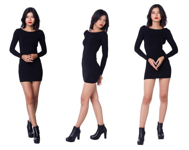 Collage group pełna długość przystawka do figury z lat 20. azjatka z czarnymi włosami, krótka spódniczka i buty z długimi rękawami. biuro dziewczyna stoisko i moda pozuje na białym tle na białym tle