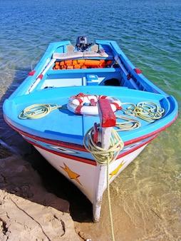 Colorfull tradycyjna portugalska łódź rybacka zakotwiczająca przy plażą.
