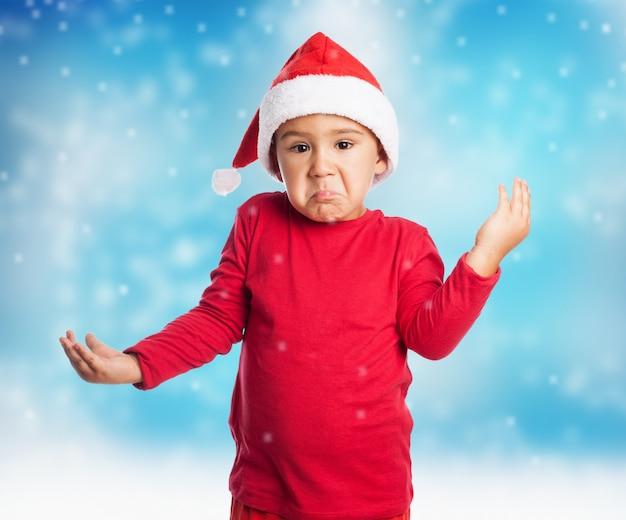 Confused dziecko na boże narodzenie