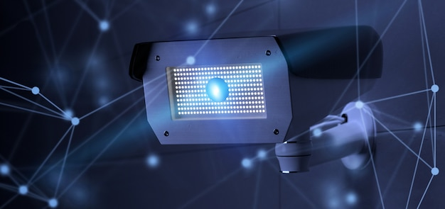 Conncetion nad systemem kamer bezpieczeństwa cctv - renderowania 3d