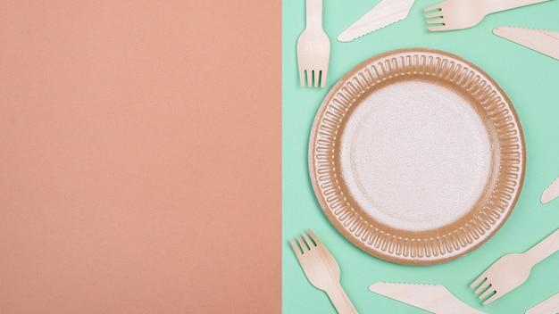 Copy space zero waste biodegradowalnej zastawy stołowej