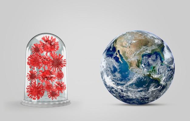 Covid-19, ilustracja medyczna infekcji chorobą koronową. koncepcja ziemi do walki z wyszukiwaniem lekarstw i rozprzestrzeniania się choroby wirusa