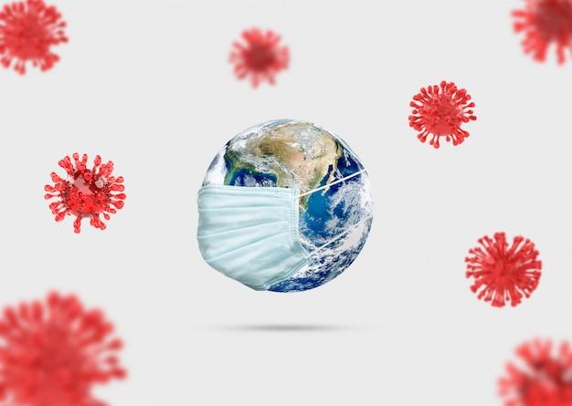 Covid-19, ilustracja medyczna infekcji chorobą koronową. koncepcja ziemi z maską do walki z poszukiwaniami leków i rozprzestrzeniania się choroby wirusa.