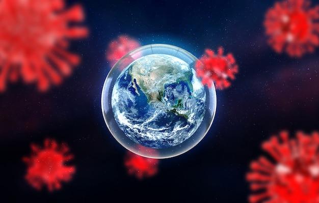 Covid-19, ilustracja medyczna zakażenia chorobą koronową koncepcja ziemi do walki z wyszukiwaniem lekarstw i rozprzestrzeniania się choroby wirusa. renderowania 3d.