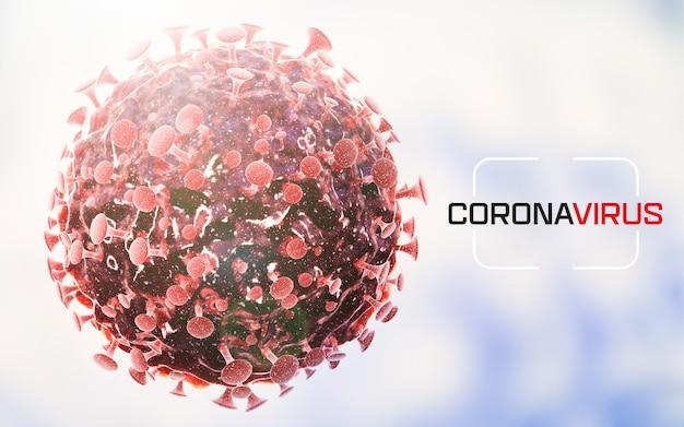 Covid-19 komórki wirusa lub cząsteczka bakterii. grypa, widok koronawirusa pod mikroskopem, choroba zakaźna