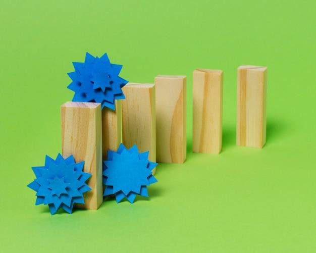 Covid koncepcja z drewnianymi elementami