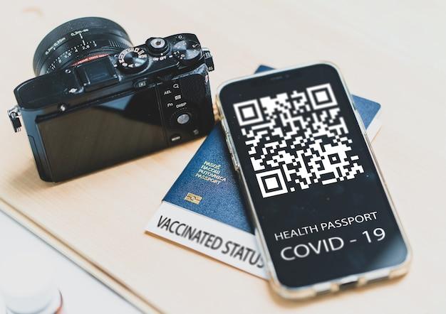 Covid smartphone qr code paszport wysokiej jakości zdjęcie