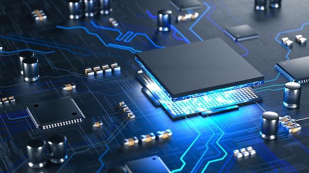 Cpu centralne procesory komputerowe z koncepcją płytki drukowanej procesor mobilny ai
