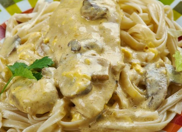 Creamy toscan garlic chicken - soczysty kurczak w panierce podawany na makaronie z pysznym kremowym toskańskim sosem czosnkowym