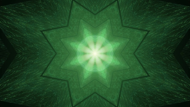 Creative 3d ilustracja streszczenie ciemnozielone tło z symetrycznym ornamentem w kształcie gwiazdy