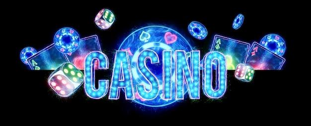 Creative kasyno tło, kasyno napis w neonowe litery gry w karty ruletka na ciemnym tle. ulotka. koncepcja hazardu, nagłówek witryny. skopiuj miejsce. ilustracja 3d, renderowanie 3d.