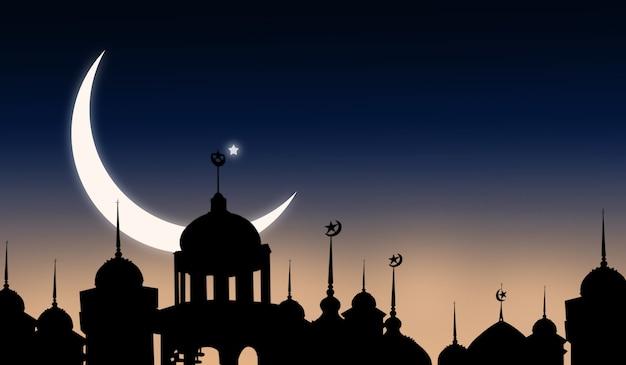 Crescent moon i gwiazda z cieniem meczety kopuła na tle gradientu zmierzchu. dla eid al-fitr, arabski, eid al-adha, nowy rok muharram. symbole religii ramadan kareem.
