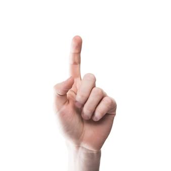 Crop ręka wskazuje przy kamerą