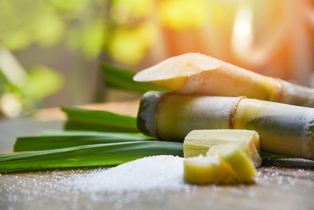 Cukier i trzcina cukrowa na drewnianym stole i przyrody