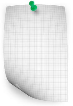 Curl papieru tło z pinezkę na białym tle