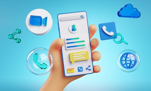 Cute hand holding phone zoom icons wokół renderingu 3d