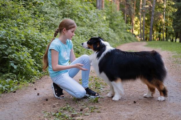Cute nastolatka pocałunek pociągu owczarek australijski trzy kolory psa latem. właściciel. ludzie ze zwierzakiem razem. posłuszeństwo. treser.