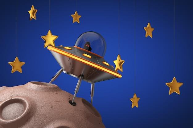 Cute spaceship cartoon ufo nad abstrakcyjną planetą w kosmosie ze złotymi gwiazdami na niebieskim tle. renderowanie 3d