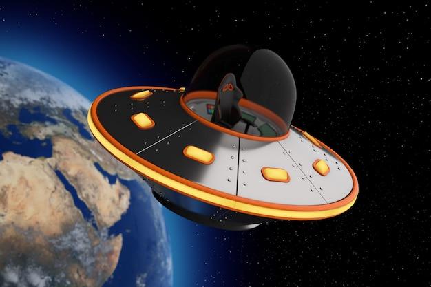 Cute spaceship cartoon ufo w ekstremalnym zbliżeniu otwartej przestrzeni. renderowanie 3d