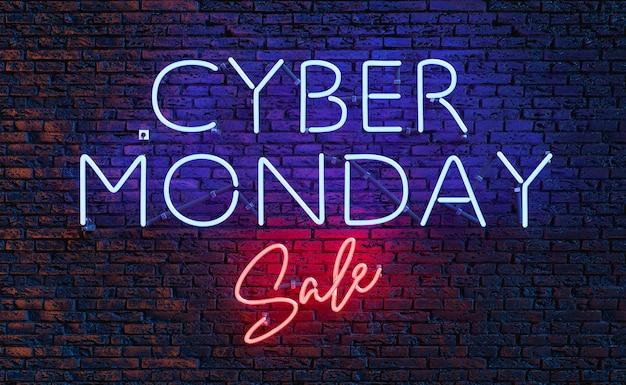 Cyber poniedziałek sprzedaż neonowy znak