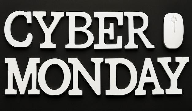 Cyber poniedziałek wiadomość za pomocą myszy