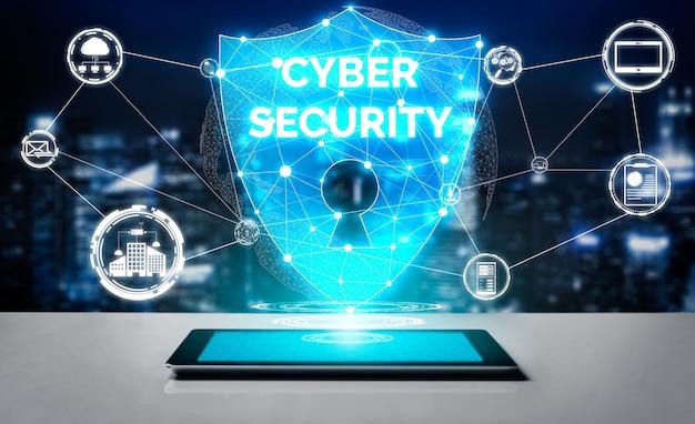 Cyberbezpieczeństwo i koncepcja ochrony danych cyfrowych.