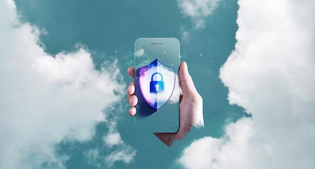 Cyberbezpieczeństwo na koncepcji technologii chmury. zabezpieczanie internetowych systemów przetwarzania w chmurze. dłoń trzymająca inteligentny telefon z kłódką, odciskiem palca i osłoną ochronną do nieba