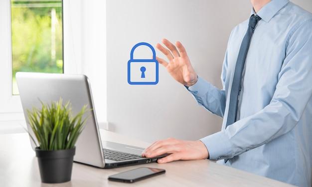 Cyberbezpieczeństwo sieci. kłódka ikona internet technologia sieci. ochrona danych osobowych