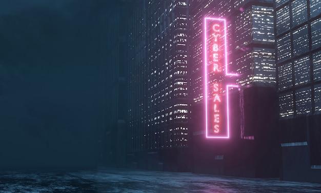 Cybernetyczny poniedziałek sprzedaży neon poświata na dużych budynkach i lekkie odbicie na podłodze.