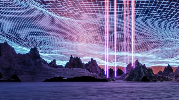 Cyberpunk krajobraz wirtualnej rzeczywistości 3d render